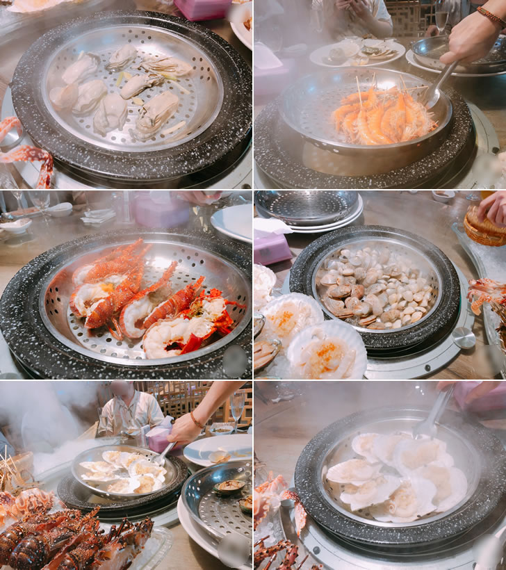 香港オフ会の夕食会で食べた海鮮蒸し料理の一部
