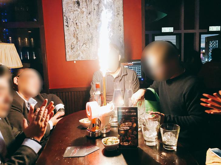 香港オフ会の2次会で訪れたバーのジントニックから炎が