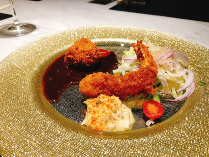 大阪オフ会で食べた三皿目は海老フライと蟹クリームコロッケ