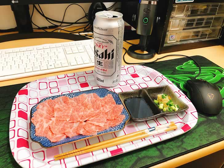 第二回オンラインオフ会は牛刺とビールで参加