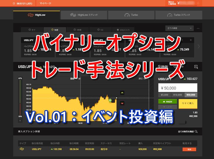 バイナリーオプショントレード手法シリーズVol.01はイベント投資ロジックをお教えします
