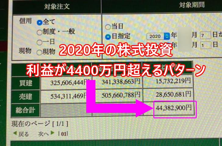 2020年の日本株式投資の利益は4400万円越え
