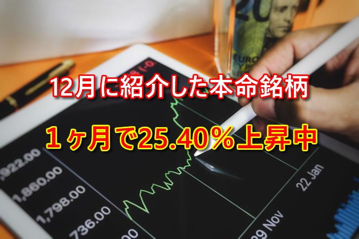 本命銘柄1ヶ月で25.40%上昇中【旅トモVIPメンバー紹介銘柄】